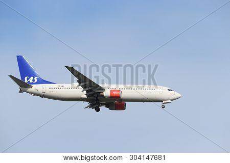 Amsterdam, The Netherlands - May 30th 2019: Ln-rcz Sas Scandinavian Airlines Boeing 737-800 Final Ap