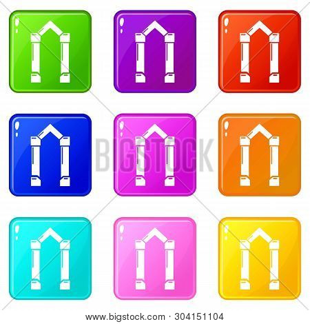 Archway Element Icons Set 9 Color Collection Isolated On White For Any Design