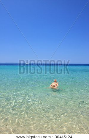 Two Women on the beach in the summertime