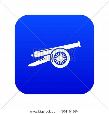 Enemy cannon icon blue vector isolated on white background poster