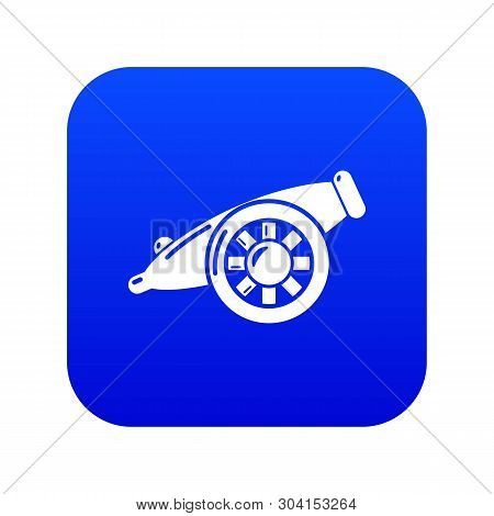 Artillery Cannon Icon Blue Vector Isolated On White Background
