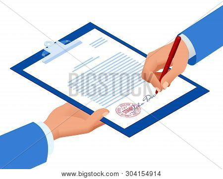 Isometric Signed A Contract With A Stamp. Document With A Signature. The Form Of The Document. Busin