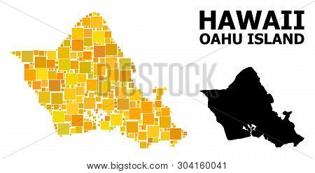 Gold Square Pattern And Solid Map Of Oahu Island. Vector Geographic Map Of Oahu Island In Yellow Gol