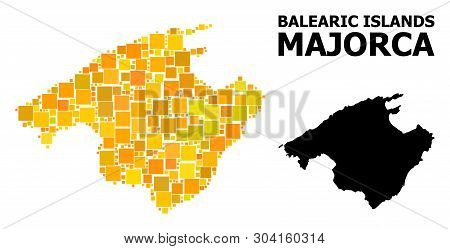 Gold Square Mosaic And Solid Map Of Majorca. Vector Geographic Map Of Majorca In Yellow Golden Color