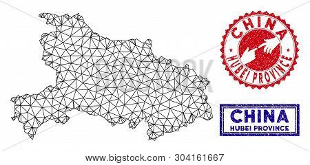 Carcass Polygonal Hubei Province Map And Grunge Seal Stamps. Abstract Lines And Circle Dots Form Hub