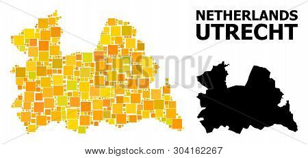 Gold Square Mosaic And Solid Map Of Utrecht Province. Vector Geographic Map Of Utrecht Province In Y