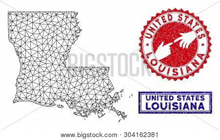 Wire Frame Polygonal Louisiana State Map And Grunge Seal Stamps. Abstract Lines And Points Form Loui