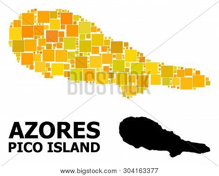 Gold Square Mosaic And Solid Map Of Pico Island. Vector Geographic Map Of Pico Island In Yellow Gold
