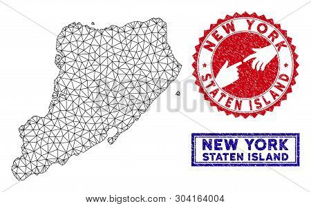 Mesh Polygonal Staten Island Map And Grunge Seal Stamps. Abstract Lines And Dots Form Staten Island