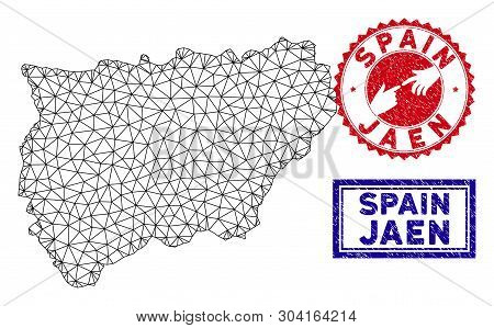 Network Polygonal Jaen Spanish Province Map And Grunge Seal Stamps. Abstract Lines And Dots Form Jae