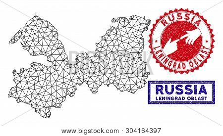 Carcass Polygonal Leningrad Oblast Map And Grunge Seal Stamps. Abstract Lines And Points Form Lening