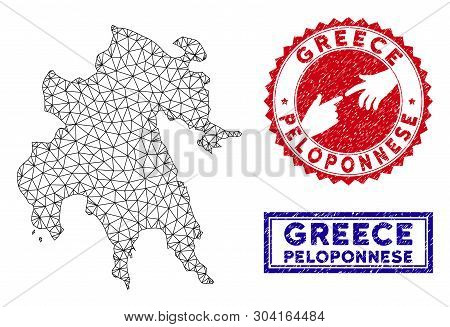Wire Frame Polygonal Peloponnese Peninsula Map And Grunge Seal Stamps. Abstract Lines And Dots Form