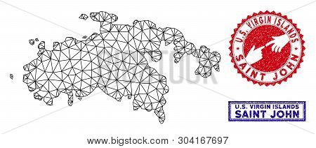 Wire Frame Polygonal Saint John Island Map And Grunge Seal Stamps. Abstract Lines And Circle Dots Fo
