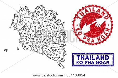 2d Polygonal Ko Pha Ngan Map And Grunge Seal Stamps. Abstract Lines And Small Circles Form Ko Pha Ng