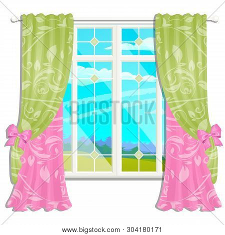 The Window Overlooking The Sunny Meadow Of Green Grass In Summer Isolated On White Background. Inter