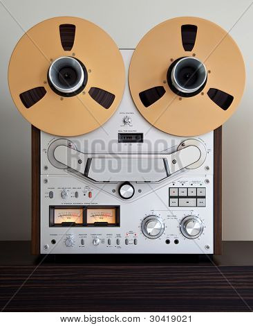 Analog Stereo Open Reel Tape Deck Recorder with large reels poster