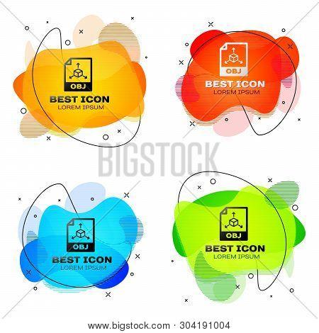 Black Obj File Document Icon. Download Obj Button Icon Isolated. Obj File Symbol. Set Of Liquid Colo