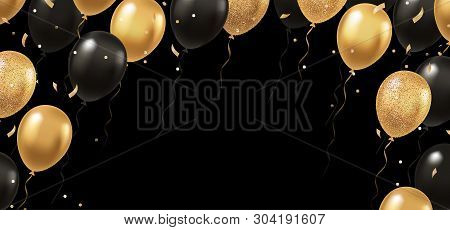 Celebration, Festival Background With Helium Balloons. Greeting Banner Or Poster With Gold And Black