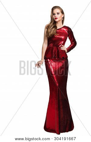 Fashion Model Red Sparkling Dress, Elegant Woman In Long Evening Gown, Girl Beauty Portrait Isolated
