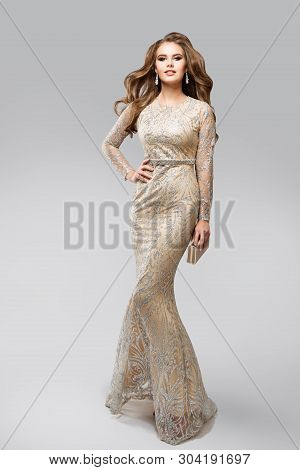 Fashion Model Evening Glittering Silver Dress, Elegant Glamour Woman In Sparkling Sexy Gown, Beauty