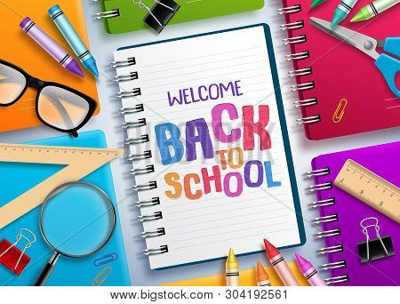 Back To School Vector Concept With Colorful Notebooks And Welcome Back To School Text Written In Whi
