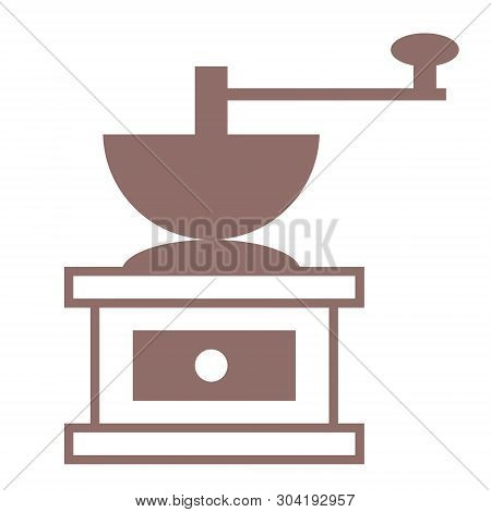 Handy Coffee Mill Geometric Illustration Isolated On White. Kitchen And Home Decoration Series.