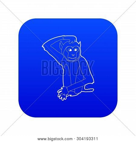 Brooding monkey icon blue vector isolated on white background poster