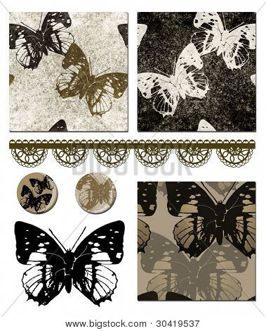 Contemporary Butterfly repeat seamless patterns and icons.  Use to create striking items such as cushion covers, bed linen or paper craft projects.