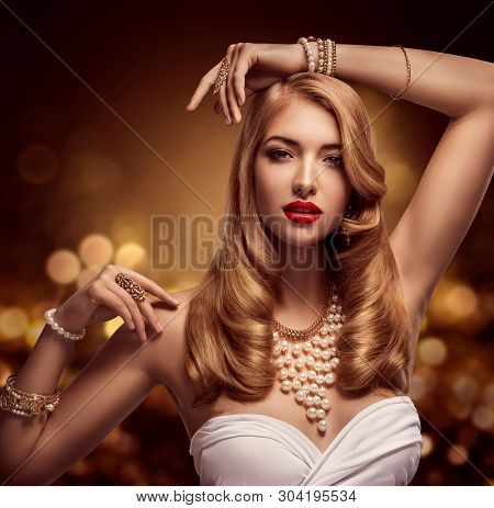 poster of Woman Jewelry, Gold Pearl Jewellery Bracelets and Necklace, Fashion Model Beauty Portrait, Girl with Long Golden Hair