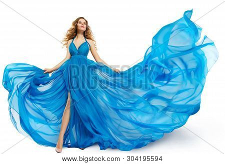 Woman Flying Blue Dress, Fashion Model Dancing In Long Waving Gown, Fluttering Fabric Isolated Over