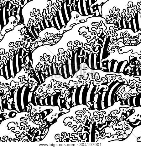 Vector Seamless Pattern With Japanese Great Wave In A Vintage Retro Engraved Etching Woodcut Style.g