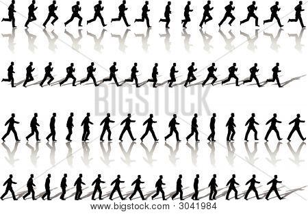Quadro de homem de negócios executar Loops de seqüências & poder Walk.Eps