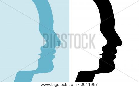 Male & Female profile silhouettes; 2 couples in blue and black and white symbols of people. poster