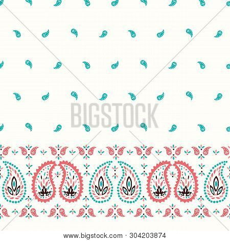 Traditional Oriental Colorful Paisley Vector Seamless Horizontal Border And Pattern. Whimsical Class
