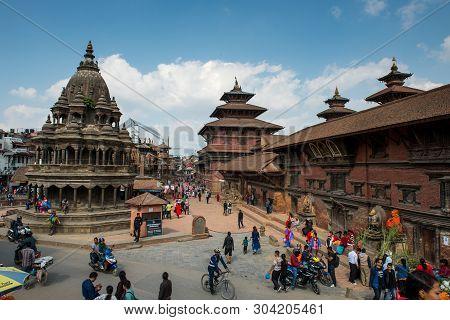 Kathmandu,nepal -october 16,2018 : Square Durbar In Patan, Ancient City In Kathmandu Valley. Histori