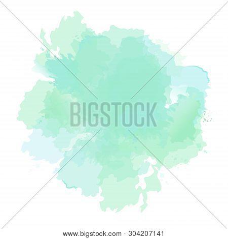 Emerald Green, Mint, Dusty Blue Sage Watercolor Vector Splash. Background Hand-drawn Texture. Painte