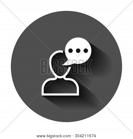 Man Head Mind Thinking Icon In Flat Style. Speech Bubble With People Vector Illustration On Black Ro