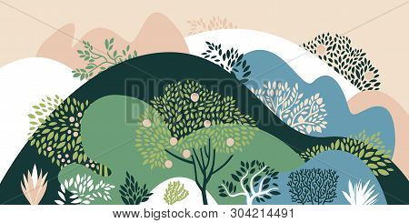 Hilly Landscape With Trees, Bushes And Plants. Growing Plants And Gardening. Protection And Preserva