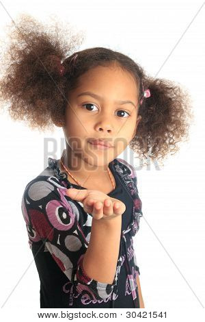 Afro American Beautiful Girl With Black Curly Hair Metisse
