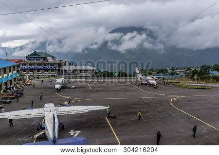 Lukla,nepal - 2019 September 29 : The Aircraft On The Runway Of The Tenzing-hillary Airport Lukla -