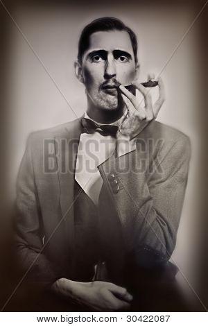 Retro Portrait Of  Man Smoking A Pipe