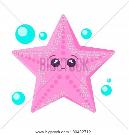 Sea Animal Starfish In Flat Style. Cartoon Starfish Character. Starfish For Summer Design Elements I