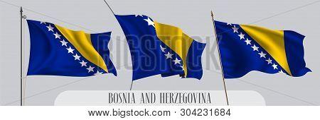 Set Of Bosnia And Herzegovina Waving Flag On Isolated Background Vector Illustration. 3 Blue Yellow