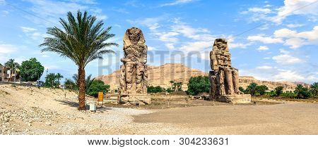 Panoramic View On Colossi Of Memnon In Luxor At Summer Day