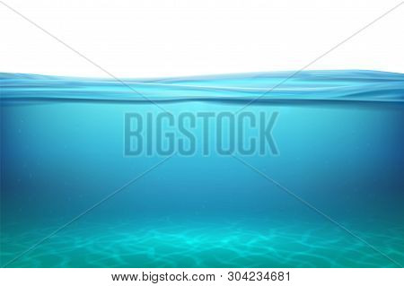 Lake Underwater Surfaces. Relax Blue Horizon Background Under Surface Sea, Clean Natural View Bottom