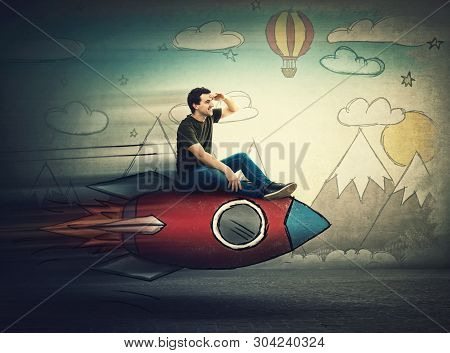 Amazed Guy Flying On A Fast Rocket Looking Hand To Forehead Looking Far Away For A Vacation Destinat