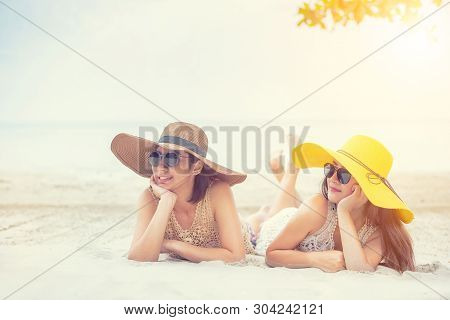 Pride And The Lgbtq+ On Summer Beach. Bisexual And Homosexual Couple.