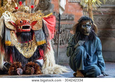 Banjar Gelulung, Bali, Indonesia - February 26, 2019: Mas Village. Play On Stage Setting. Dragon Wit