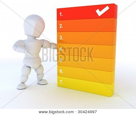 3D render of a man with a to do list