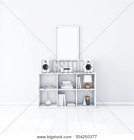Vertical Poster Mockup With White Frame Hanging On The Wall, Audio Micro System On Stillage, 3d Rend